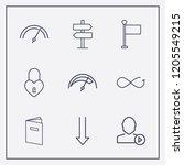 outline 9 sign icon set.... | Shutterstock .eps vector #1205549215