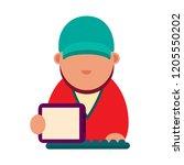 cartoon icon of computer geek.... | Shutterstock . vector #1205550202
