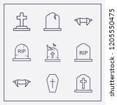 outline 9 cruel icon set.... | Shutterstock .eps vector #1205550475