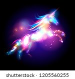 star magic unicorn logo... | Shutterstock . vector #1205560255
