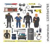 police vector people policeman... | Shutterstock .eps vector #1205564785