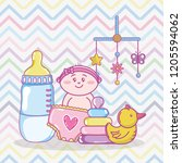 baby shower cartoons | Shutterstock .eps vector #1205594062