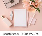 flat lay scene in peach pink... | Shutterstock . vector #1205597875