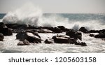 wind blowing the water and... | Shutterstock . vector #1205603158