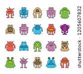 vector set of monster cartoon... | Shutterstock .eps vector #1205607832