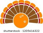 a thanksgiving turkey tail with ... | Shutterstock .eps vector #1205616322