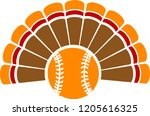 a thanksgiving turkey tail with ... | Shutterstock .eps vector #1205616325