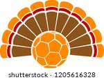 a thanksgiving turkey tail with ... | Shutterstock .eps vector #1205616328
