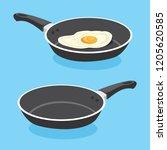 fried egg on frying pan vector... | Shutterstock .eps vector #1205620585