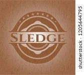 sledge vintage wooden emblem | Shutterstock .eps vector #1205644795