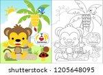 coloring book vector of little... | Shutterstock .eps vector #1205648095