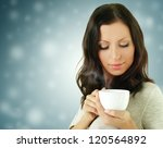 fashion woman with coffee drink | Shutterstock . vector #120564892