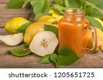smoothie of fresh organic pears ... | Shutterstock . vector #1205651725