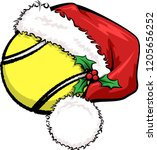 a basketball with a santa cap... | Shutterstock .eps vector #1205656252