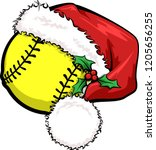 a basketball with a santa cap... | Shutterstock .eps vector #1205656255