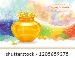 pot filled with gold coins and... | Shutterstock .eps vector #1205659375