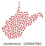 mosaic map of west virginia...   Shutterstock .eps vector #1205667082