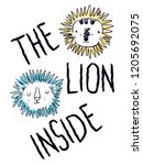 lion sketch and type print | Shutterstock .eps vector #1205692075