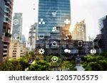 smart city data management... | Shutterstock . vector #1205705575