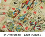 old fortune telling maps with... | Shutterstock . vector #1205708068