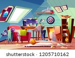 messy attic kids room interior... | Shutterstock .eps vector #1205710162
