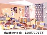 little child messy room... | Shutterstock .eps vector #1205710165