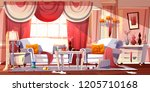 living room in classic provence ... | Shutterstock .eps vector #1205710168