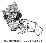 hand holding a magic tea or... | Shutterstock .eps vector #1205716675