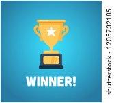 winner written with simple flat ... | Shutterstock .eps vector #1205732185