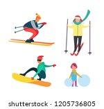 winter active people wintertime ... | Shutterstock .eps vector #1205736805