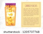 canned peaches preserved in jar ... | Shutterstock .eps vector #1205737768