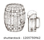keg of beer and glass of ale... | Shutterstock .eps vector #1205750962