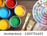 flat lay composition with paint ... | Shutterstock . vector #1205751652