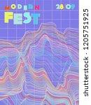 music cover in blue  violet ...   Shutterstock .eps vector #1205751925