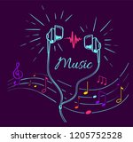 music poster with treble clef ... | Shutterstock .eps vector #1205752528