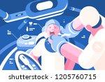dentist doing procedure at... | Shutterstock .eps vector #1205760715