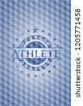 athlete blue emblem or badge...   Shutterstock .eps vector #1205771458