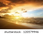 Stock photo sunset on the beach of caribbean sea 120579946
