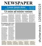 realistic newspaper front page... | Shutterstock .eps vector #1205803225