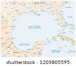 gulf of mexico road vector map | Shutterstock .eps vector #1205805595