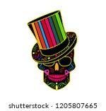 skull icon gentleman colorful ... | Shutterstock .eps vector #1205807665
