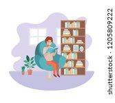 man with book in livingroom... | Shutterstock .eps vector #1205809222