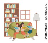 group of people with book in... | Shutterstock .eps vector #1205809372