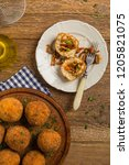classic  italian arancini. rice ...   Shutterstock . vector #1205821075