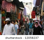 This is a market street during passover in the Old city Jerusalem. - stock photo