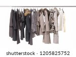 row of different clothes for...   Shutterstock . vector #1205825752