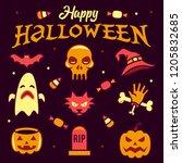 happy halloween party element... | Shutterstock .eps vector #1205832685