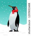 christmas penguin greeting card ... | Shutterstock .eps vector #1205832688
