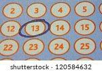 Stock photo tab of the lottery with a circled number 120584632