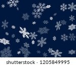 snow flakes falling macro... | Shutterstock .eps vector #1205849995